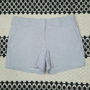 Blue and white striped seersucker shorts